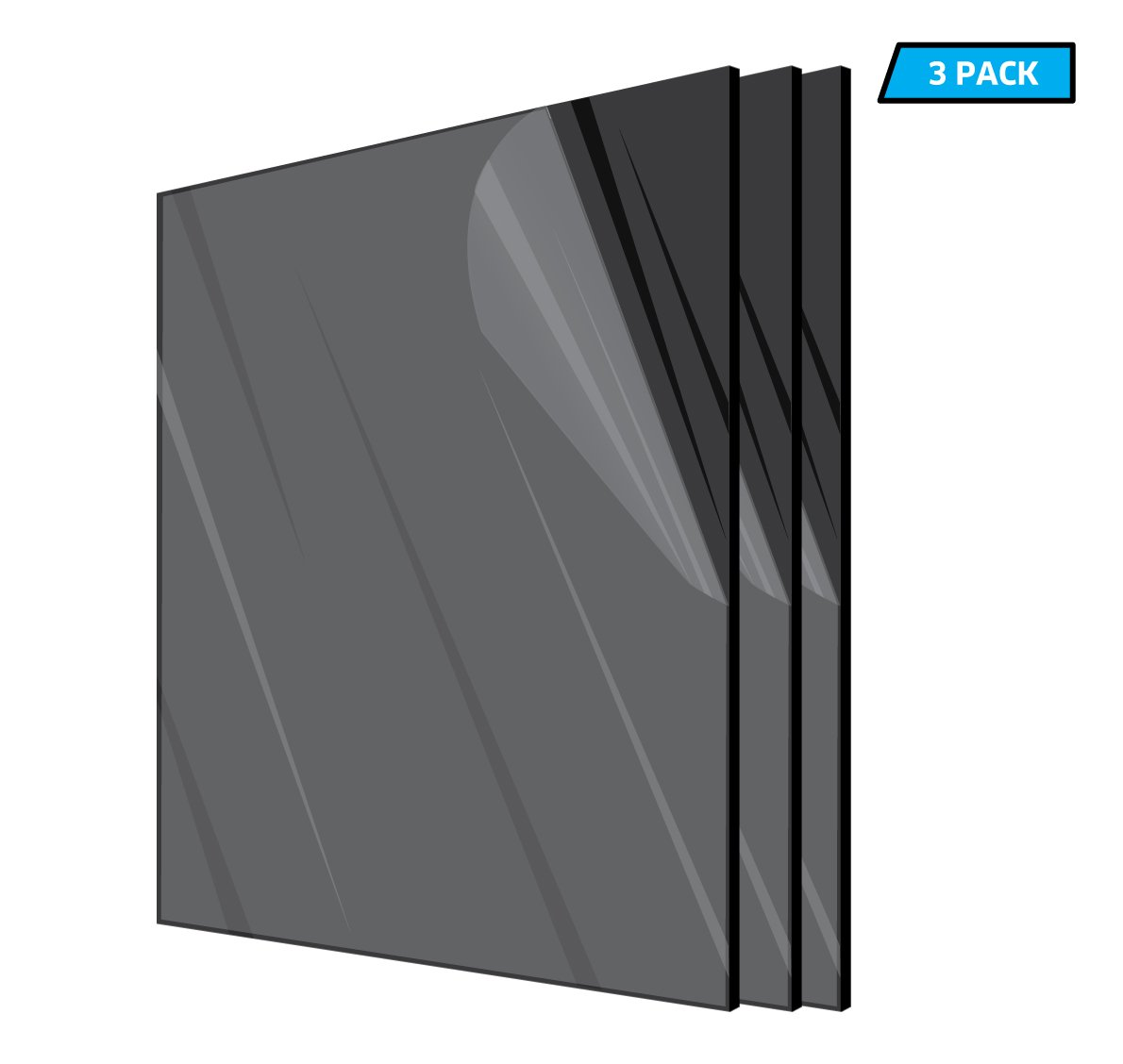 "Dark Gray Smoke Transparent Acrylic Plexiglass #2074-1//8/"" x 12/"" x 24/"""