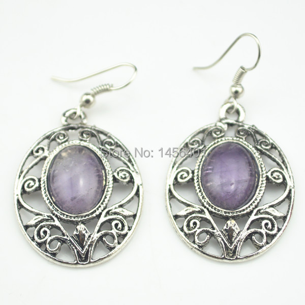 E58 Natural Turquoise Amethyst Earring 1Pair Dangle Drop Earring Tibet Alloy Antique Silver Jewelry Wholesale Price