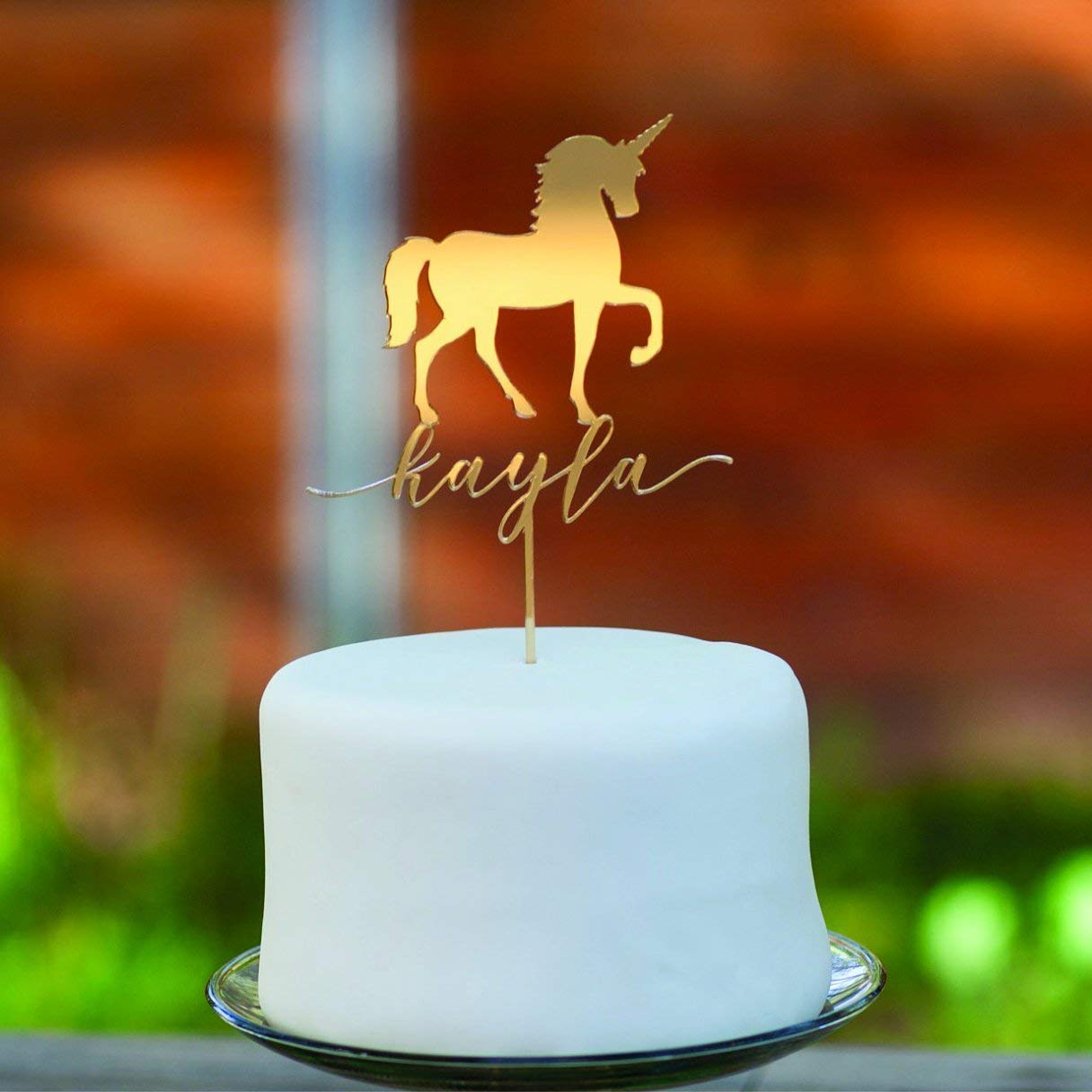 Get Quotations Gold Mirror Acrylic Unicorn Personalized Cake Topper Party Custom