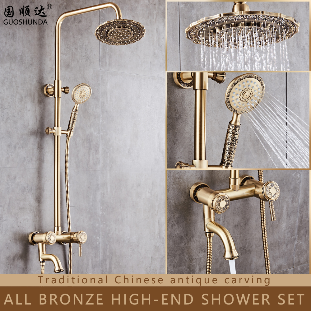 Wholesale traditional wall mounted Hot/cold water mixer shower head set bathroom shower faucet set