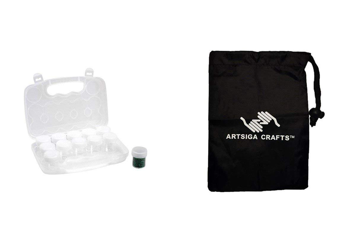 Darice Bead Storage EZ Travel Polypropylene Bead Case Clear (12 Pack) 2025 287 Bundle with 1 Artsiga Crafts Small Bag