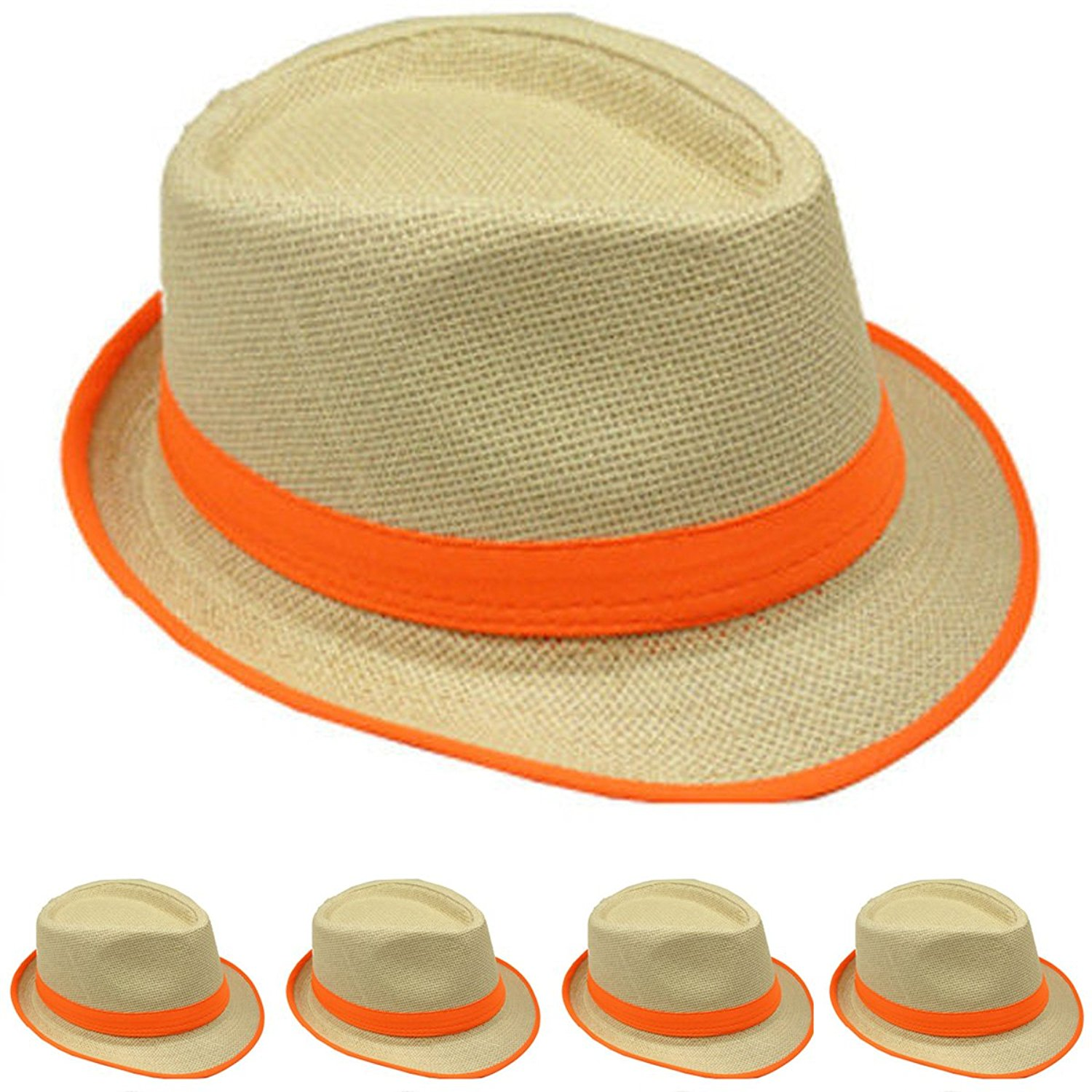 7777c407224 Get Quotations · LAfashionist Straw Fedora Hat Trilby Style Banded and Rim  Line Gangster Panama Classic Hat (Orange