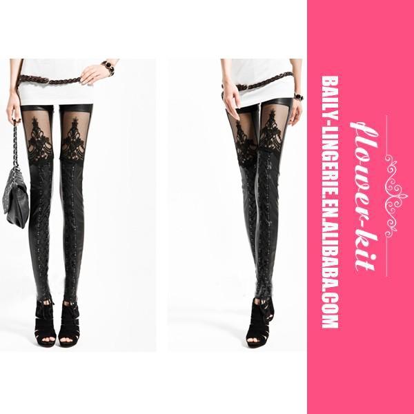 Fille Simili Cuir Sans Couture Serré Legging Noir Avec Goujon Côté ... f7bb3b2ae4f