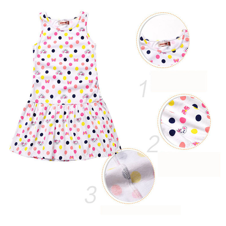 Eco-friendly Cute Baby Toddler girl Dress  Candy Printing Sleeveless  Cotton White Dress For Summer 2-6 Years