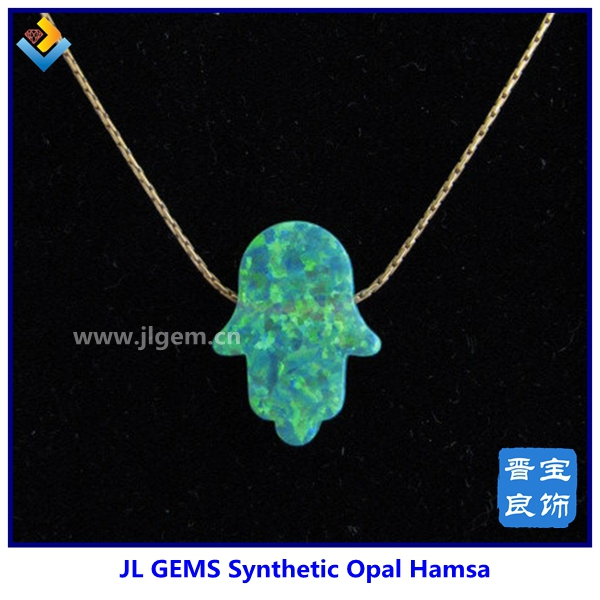 Synthetic Opal Hamsa Loose Gemstone in Sterling Silver Jewelry Manufacturer with Wholesale Cheap Price