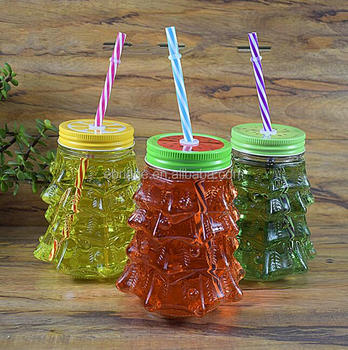 758974eb3c06c Customized Christmas Tree Shape Glass Drinking Mason Jar With Colored Cap  And Straw - Buy Mason Jars With Lids And Straws,10oz Mason Jars,Custom Made  ...