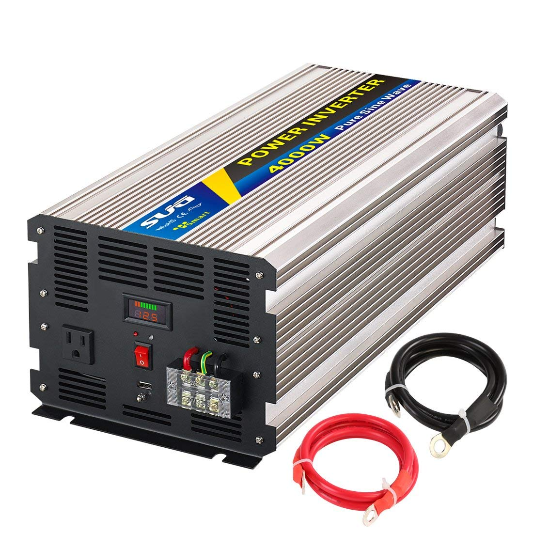 SUG 4000W (Peak 8000W) Power Inverter Pure Sine Wave DC 12V to AC 110V 120V Converter Back up Power Supply for Refrigerators, Microwaves, Coffee makers, Chainsaws,Air conditioner, Vacuums, Power tools
