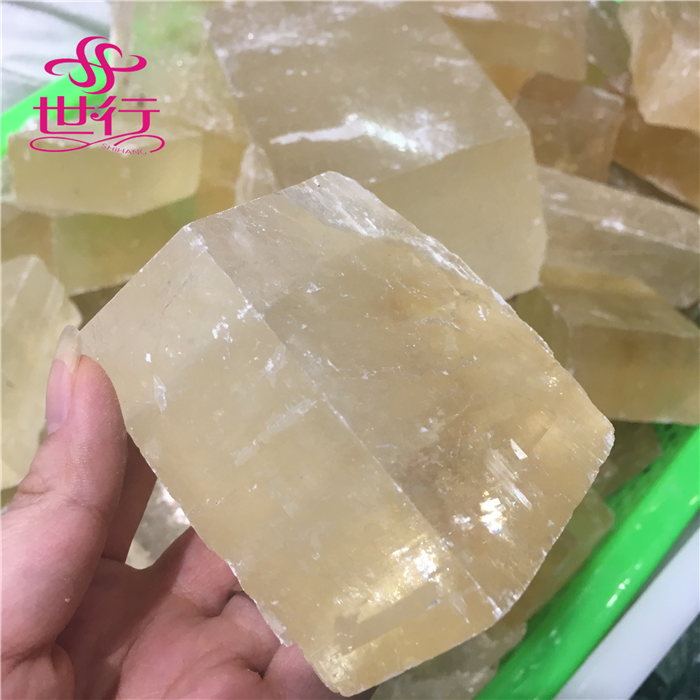High Quality Natural Mineral Calcite Crystal Clear Golden Transparent Iceland Spar Original Stone for Sale