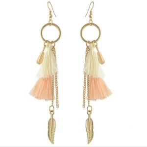 Fashion Double Layered Tiny Silk Thread Tassel Drop Pendant Earring Long Chain Tiny Leaf Fringe Drop Earring