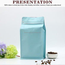 one pound 500g blue coffee packing in foil / aluminum foil bag with zipper and valve