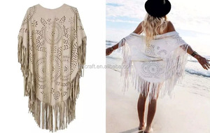 2016 Spring summer new fashion suede vest kimono poncho shawl with long fringes for women
