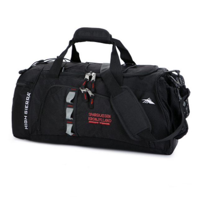 Wholesale travel multifunction foldable nylon black basketball outdoor sport duffle bag with shoes compartment