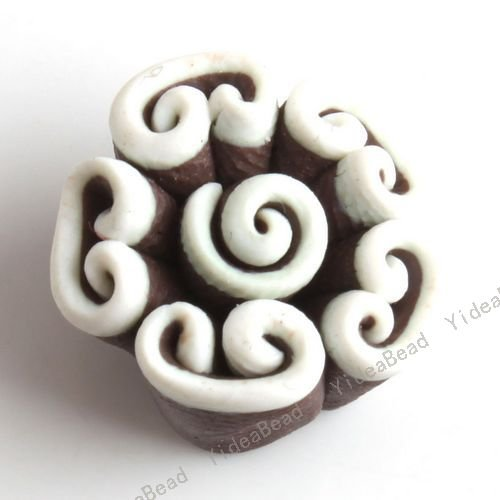 Polymer Clay Coffe color Flower Clay Charms Beads Fit earrings/ handcrafts/ jewelry DIY 40pcs/lot 110921
