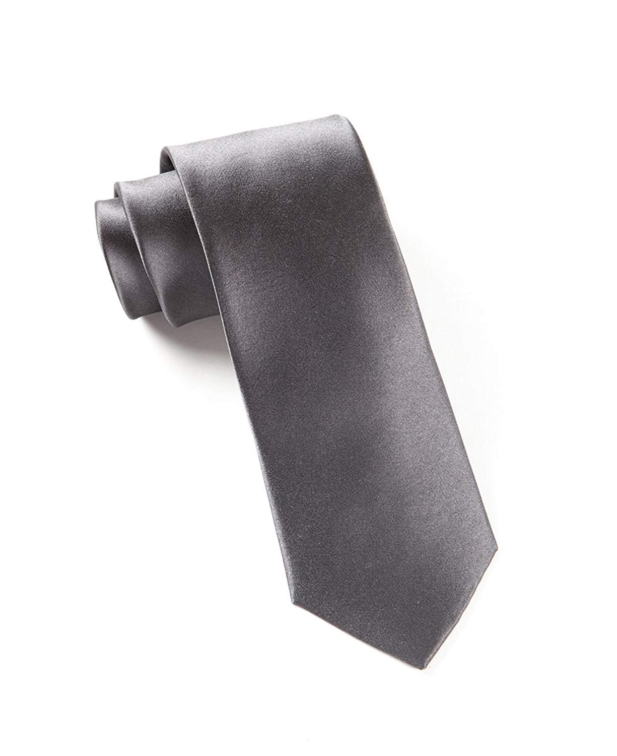623be31cb263 Get Quotations · The Tie Bar 100% Woven Silk Charcoal Solid Satin Tie