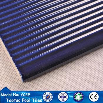 Cobalt Blue Glazed Anti Slip Swim Pool Step Nosing Tiles