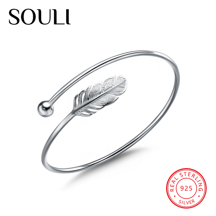 Fashion Women Jewelry Vintage Adjustable Cuff Bangles 925 Sterling Silver Feather Bracelet