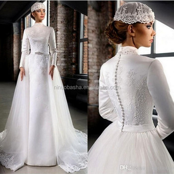 Vestido de noiva high neck wedding dresses detachable train muslim vestido de noiva high neck wedding dresses detachable train muslim bridal dress long sleeve lace applique junglespirit Choice Image