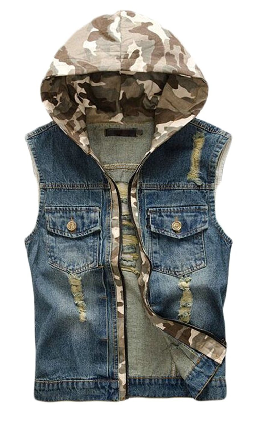 HTOOHTOOH Men Hoodie Summer Camo Shirt Sleeveless Vest Tank Top
