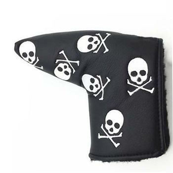 Special design wholesale Embroidery Logo black-white PU golf putter head cover