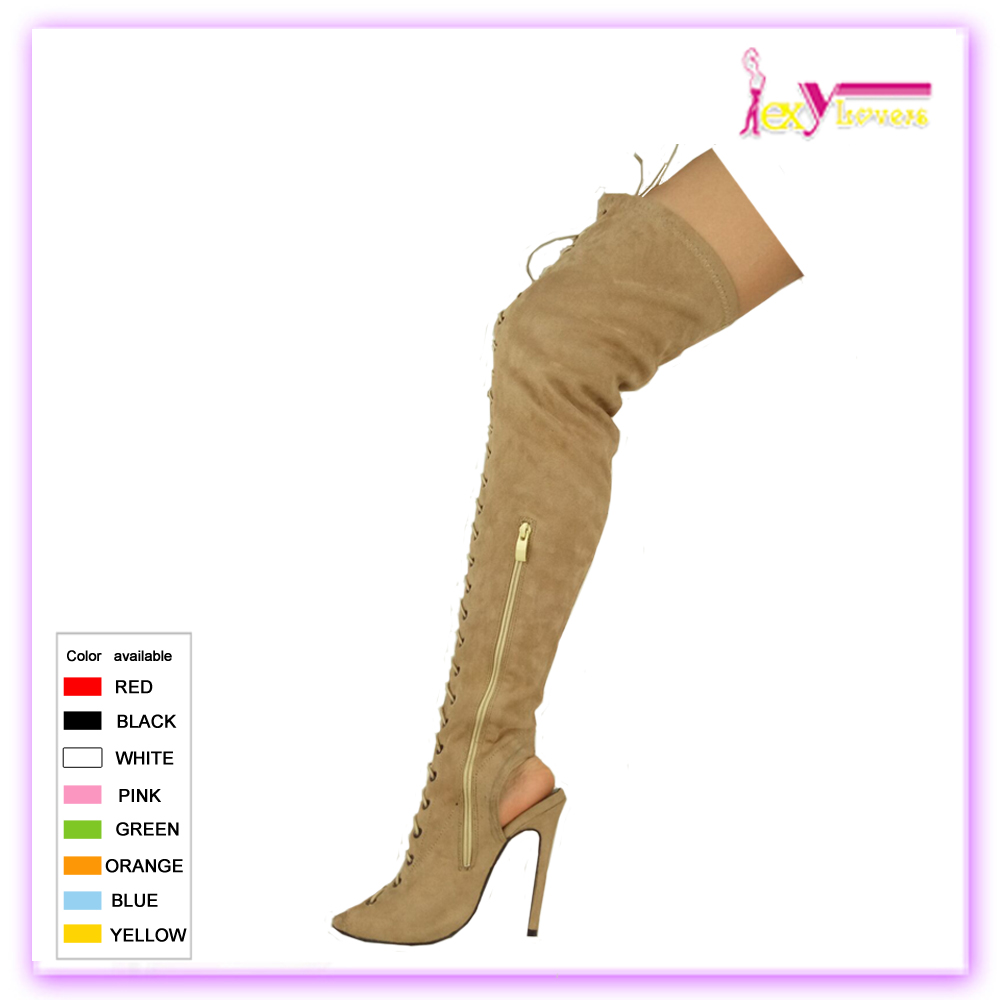 f18ceac4854 Women Hollow Out Knee High Boots Lace Up Gladiator Sexy Roman Heels Sandal  Shoes