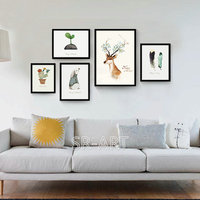 Wall Pictures For Living Room Wall Art Canvas Painting Deer Posters And Prints Nordic Decoration