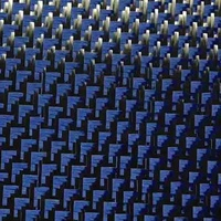 Colored carbon and kevlar hybrid fabric,blue aramid hybrid fabric