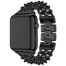 Ремешок из нержавеющей стали с цепочкой для iphone, для мужчин и женщин, ремешок для Apple Watch, 38 мм, 42 мм, смарт-браслет, Iwatch, серия 3/2/1(China)