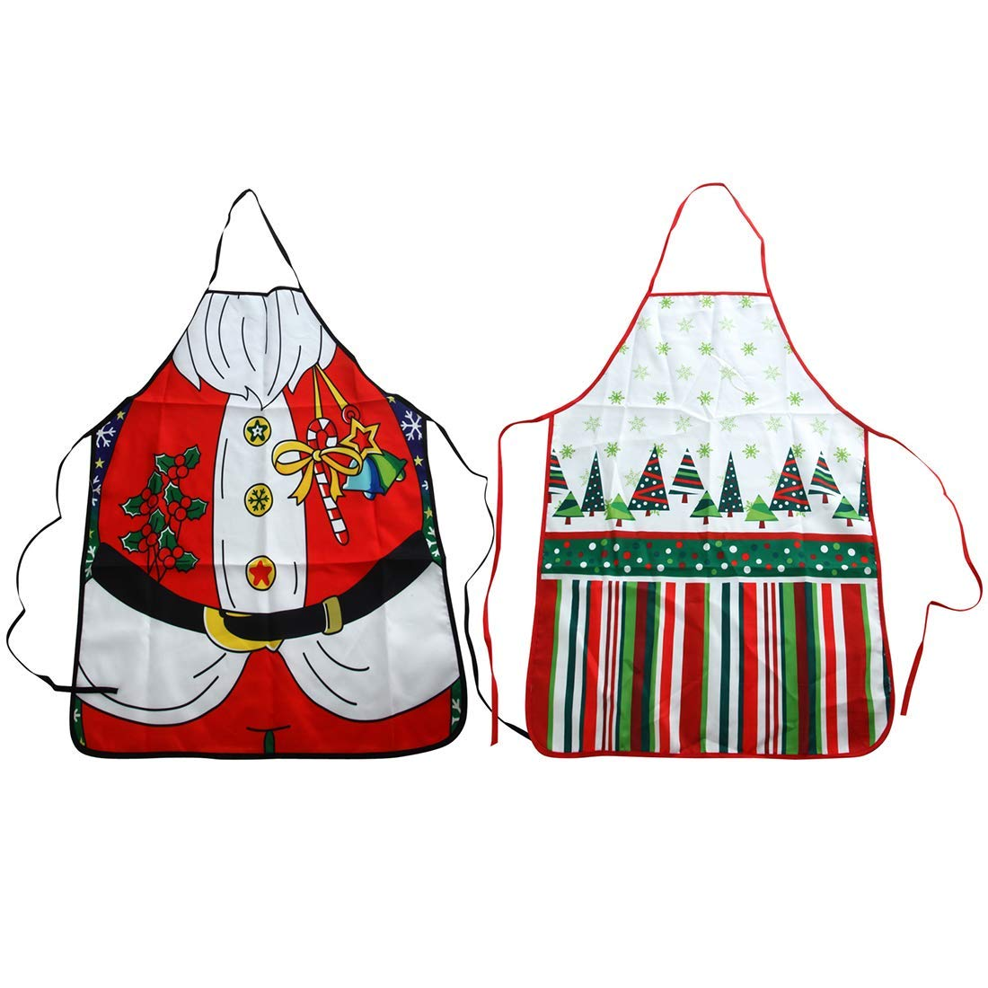Shallylu 2Pcs Christmas Kitchen Apron, Men and Women Chef Apron Kitchen Dinner Christmas Tree Santa Apron for Christmas Xmas Holidays Cooking, Baking, Crafting Gift