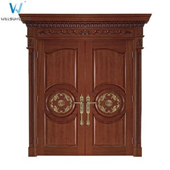 Solid Wood Doors Exterior Double Entry Door Hardware External Front Doors