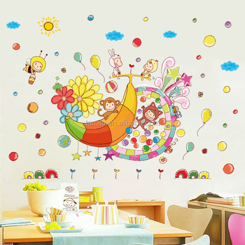 Behang Babykamer Boom.Verwijderbare Pvc Muursticker Cartoon Behang Cartoon Apen En Banaan