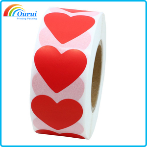 Hight quality envelope seal roll red heart sticker