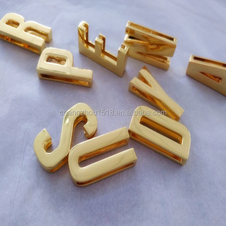 DIY Accessorie Gold Plated 30mm Slide letters Metal large letter charm