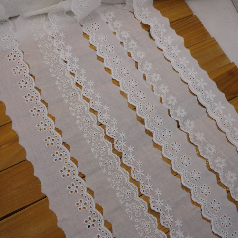 Broderie eyelet lace trim white anglaise eyelet cotton lace
