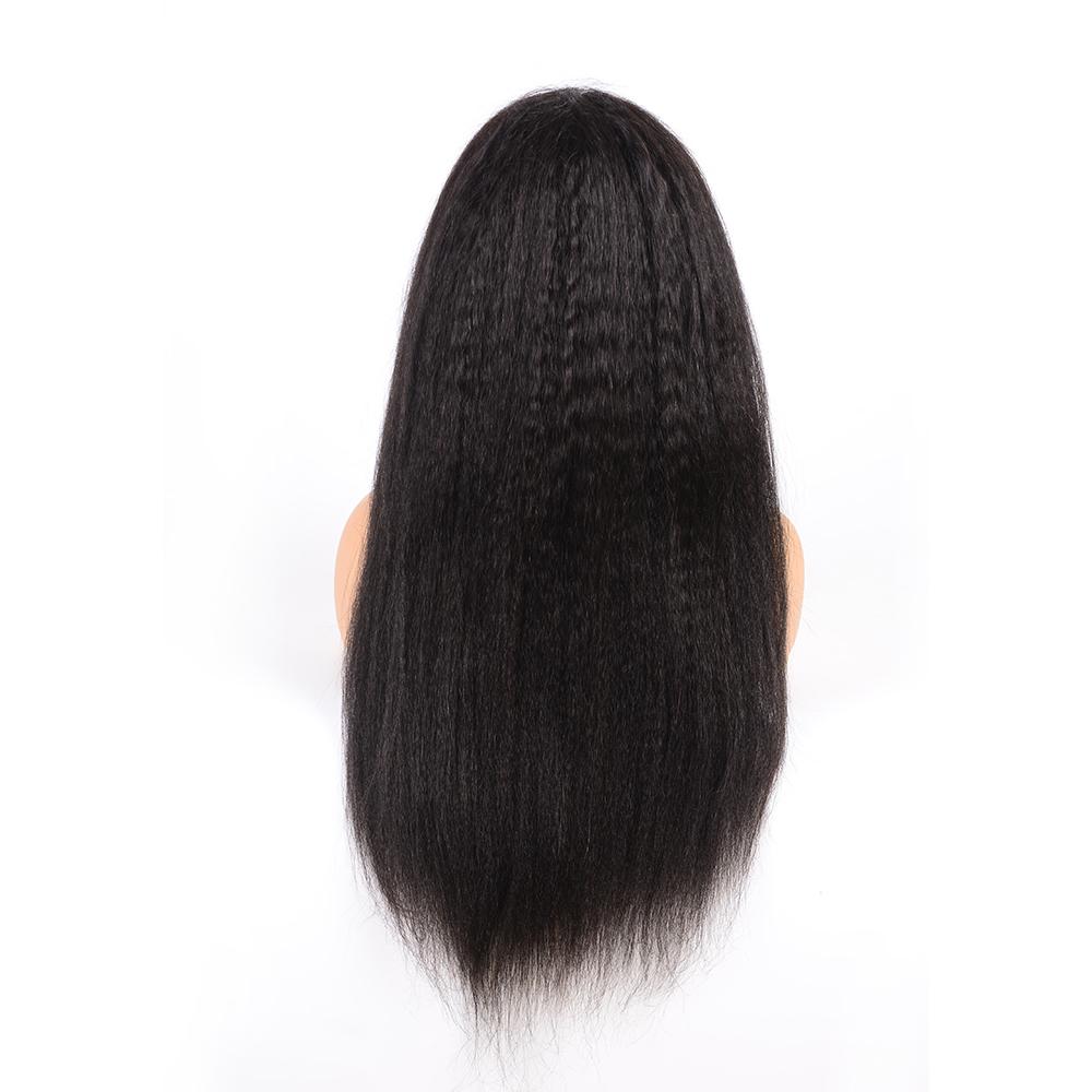28 Inch Preplucked Illusion Remy Italian Yaki Kinky Straight Human Hair Frontal Super Fine Lace Wig