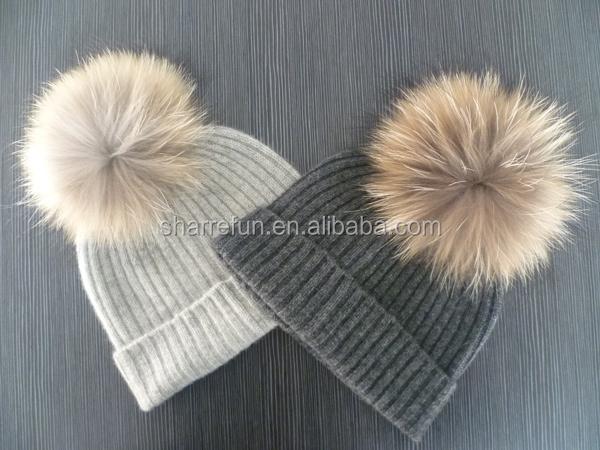 a78af7b2cb5fe7 Cream Cashmere Raccoon Fur Pom Pom Beanie Hats - Buy Fur Pom Pom ...