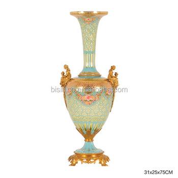 Elegant Colored Textured Decorative Glass Vaseantique Glass Enamel