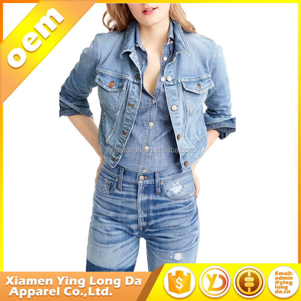 Bottom price classical ladies jeans jacket