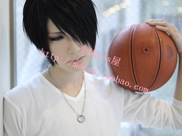 xiao mo Kuroko no Basuke Basket Himuro Tatsuya short black anime cosplay wig necklace ring