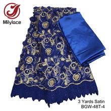 Оптовая продажа, 100 ярдов, африканская кружевная ткань с вышивкой из бисера, французская кружевная ткань, Королевский синий тюль, сетчатая к...(Китай)