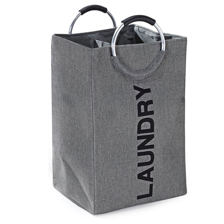 Hot Selling Double Layer Foldable Laundry Hamper Large Clothes Fabric Hamper with Round Handles