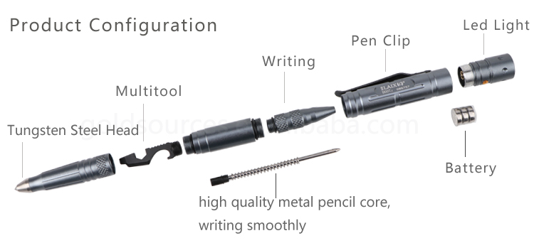 Multifunction Self Defense Products Tungsten Steel Head Tactical Pen With Led Flashlight Light