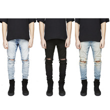 Nieuwe Mode Mannen Skinny <span class=keywords><strong>Jeans</strong></span> Rip Slim Fit Denim Verzwakte Biker Bekrast Hollow Out Lange <span class=keywords><strong>Jeans</strong></span> Broek