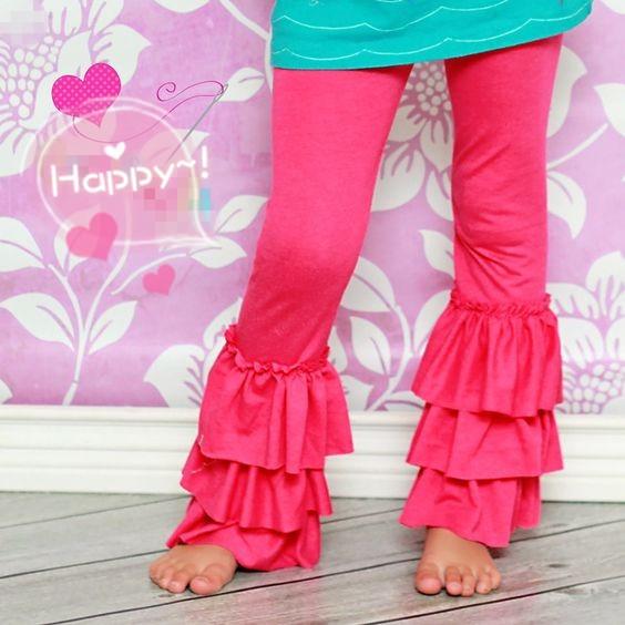 Girls Ruffle Leggings Wholesale Icing Pants Bella Triple Kids ...