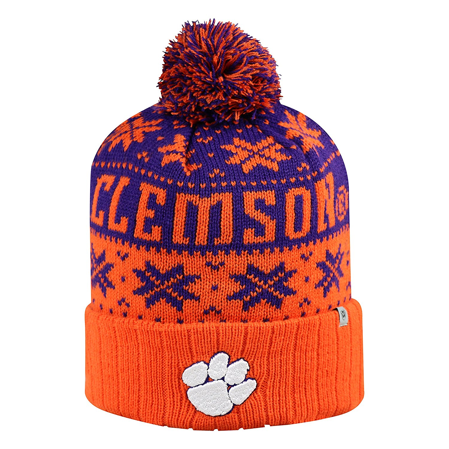 ac71bc6b330 Clemson Tigers Official NCAA Subartic Beanie Cuffed Stocking Stretch Knit  Sock Hat Cap by Top of