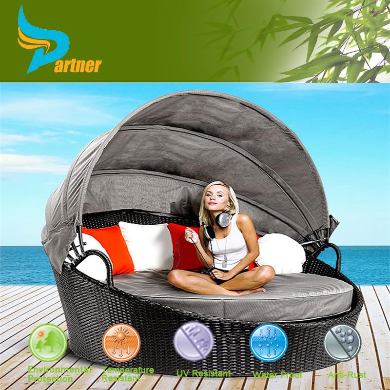 Neue Wicker Outdoor Tagesliege Sonnen Lounge Pool Garten Rattanmöbel Mit  Baldachin