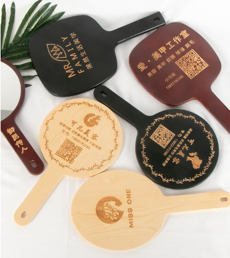 Wooden One Side Customize Shape Hand Mirror Personalized Custom Engrave LOGO UV Printing Cosmetic Wood Makeup Handheld Mirror