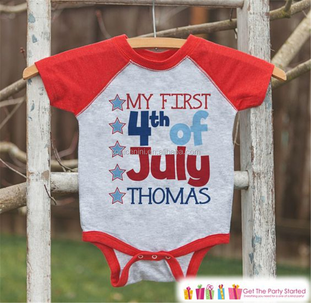 Amercian Newborn Baby First 4th of July Romper