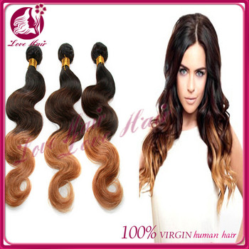 Body Wave Black Light Brown Three Tone Ombre Celebrity Heat