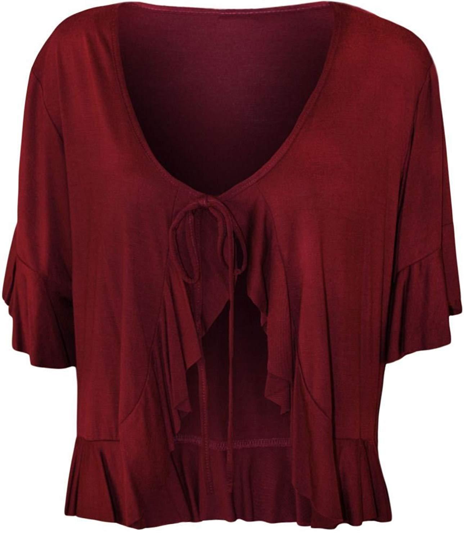 REAL LIFE FASHION LTD Ladies Frill Tie Bolero Front Open Shrug Women 3/4 Sleeve Cardigan Top Plus Size