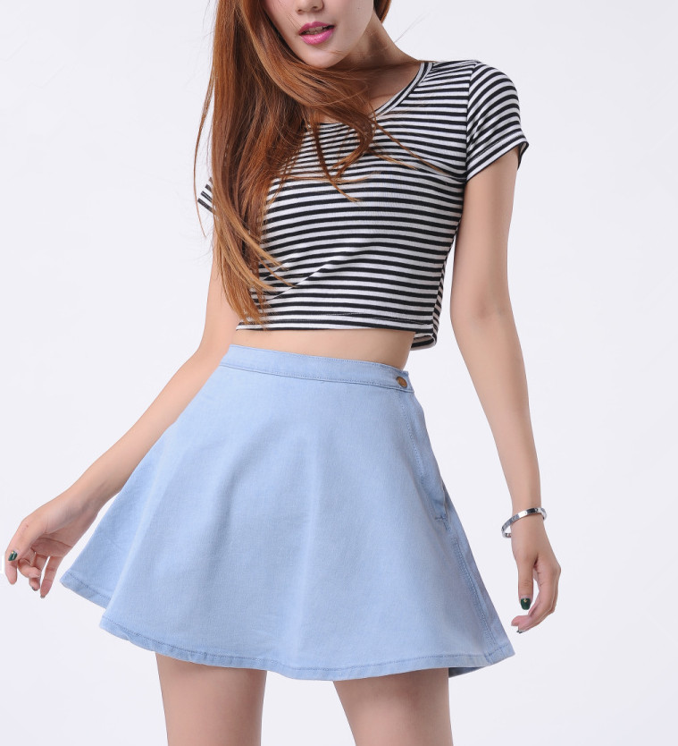 f89460c1 Get Quotations · 2015 High Fashion Designer Brands Saias Femininas A-Line Mini  Jeans Skirts High Waist Skater
